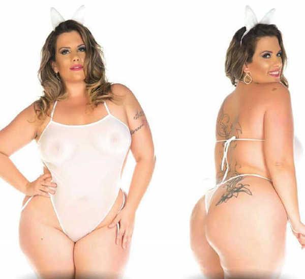Imagem de Fantasia Coelha Branca Plus Size Pimenta Sexy